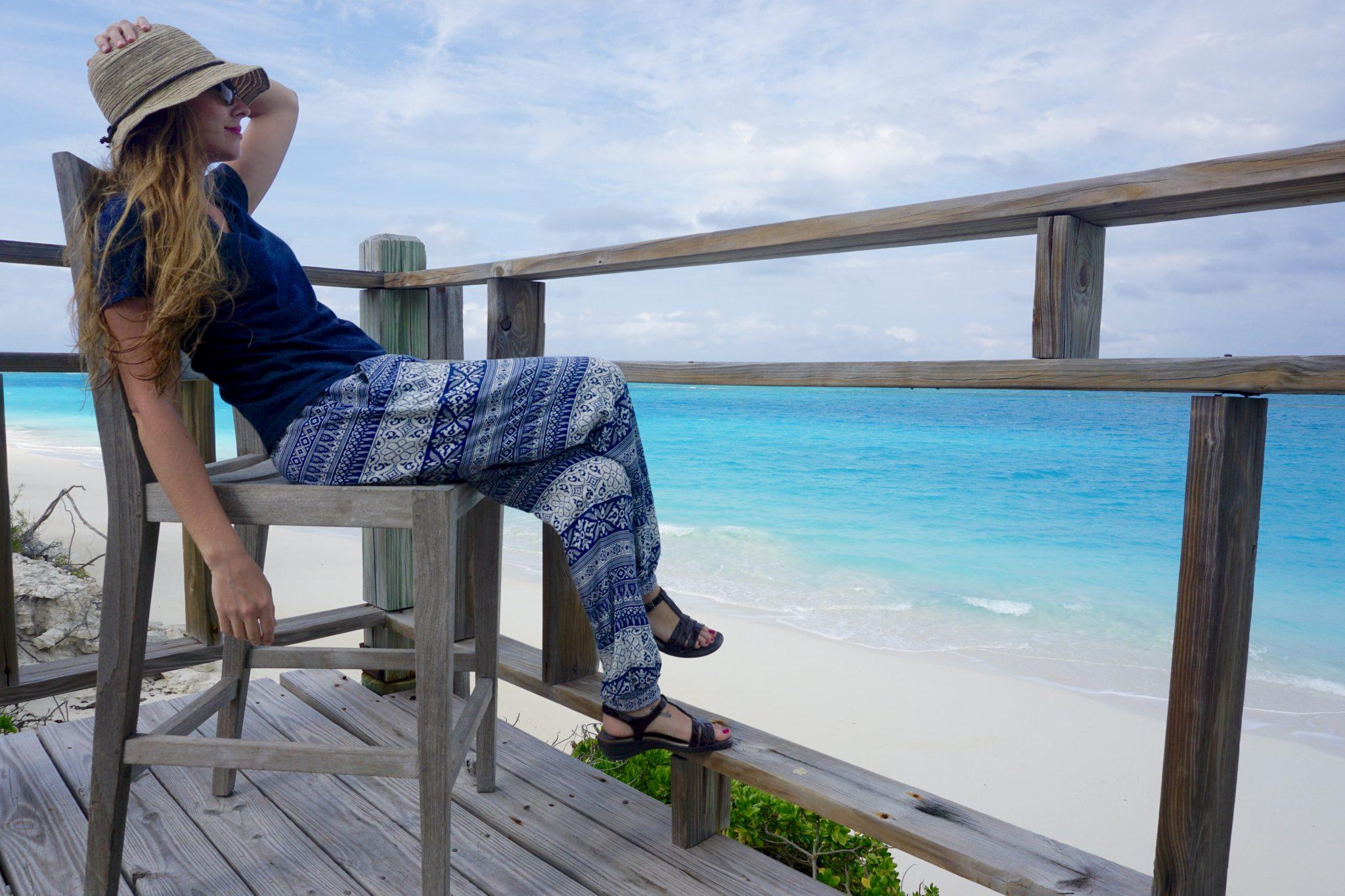 exuma, bahamas, rustic deck, beach, paradise