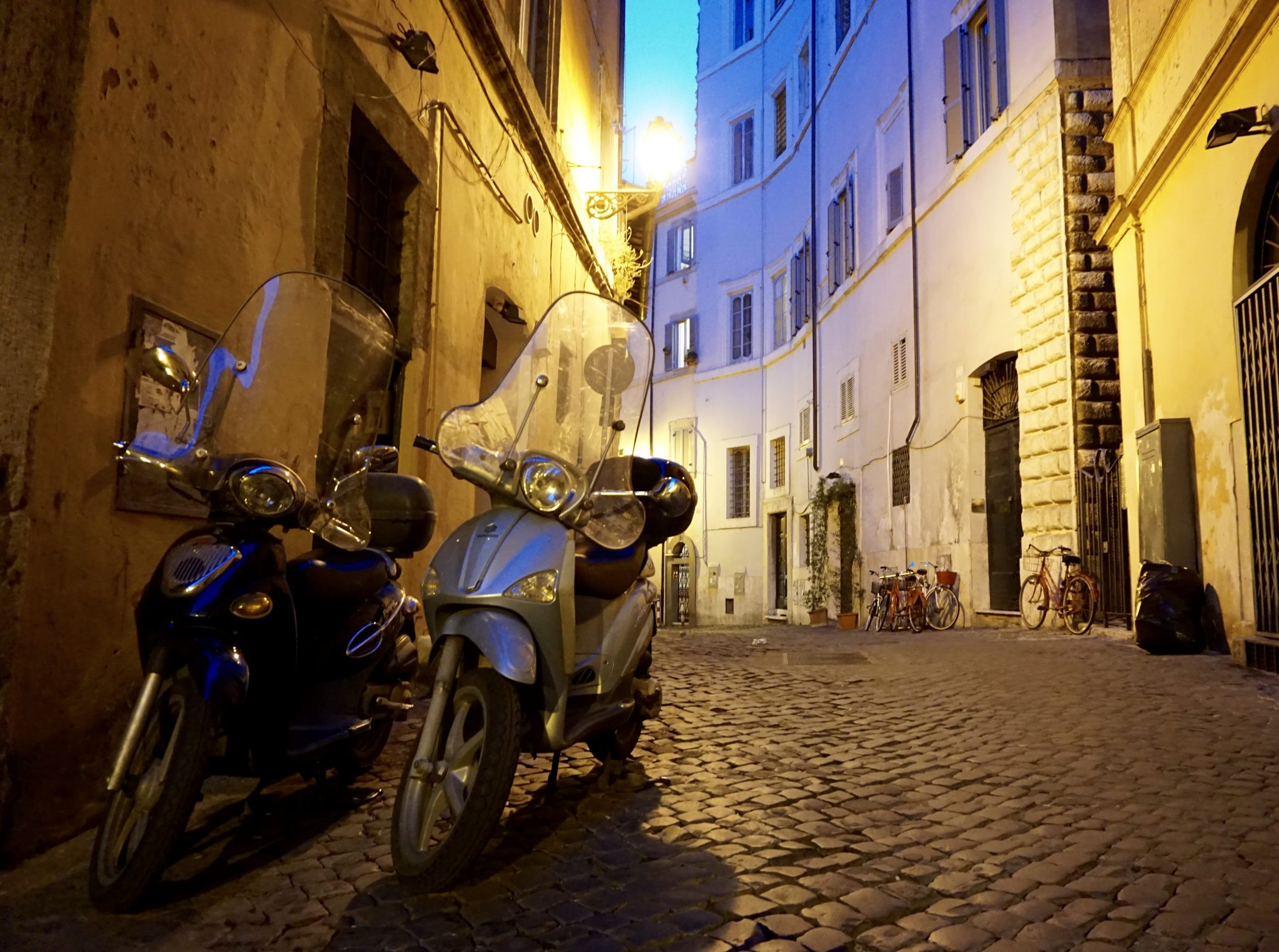 cobblestone streets, Rome, Italy