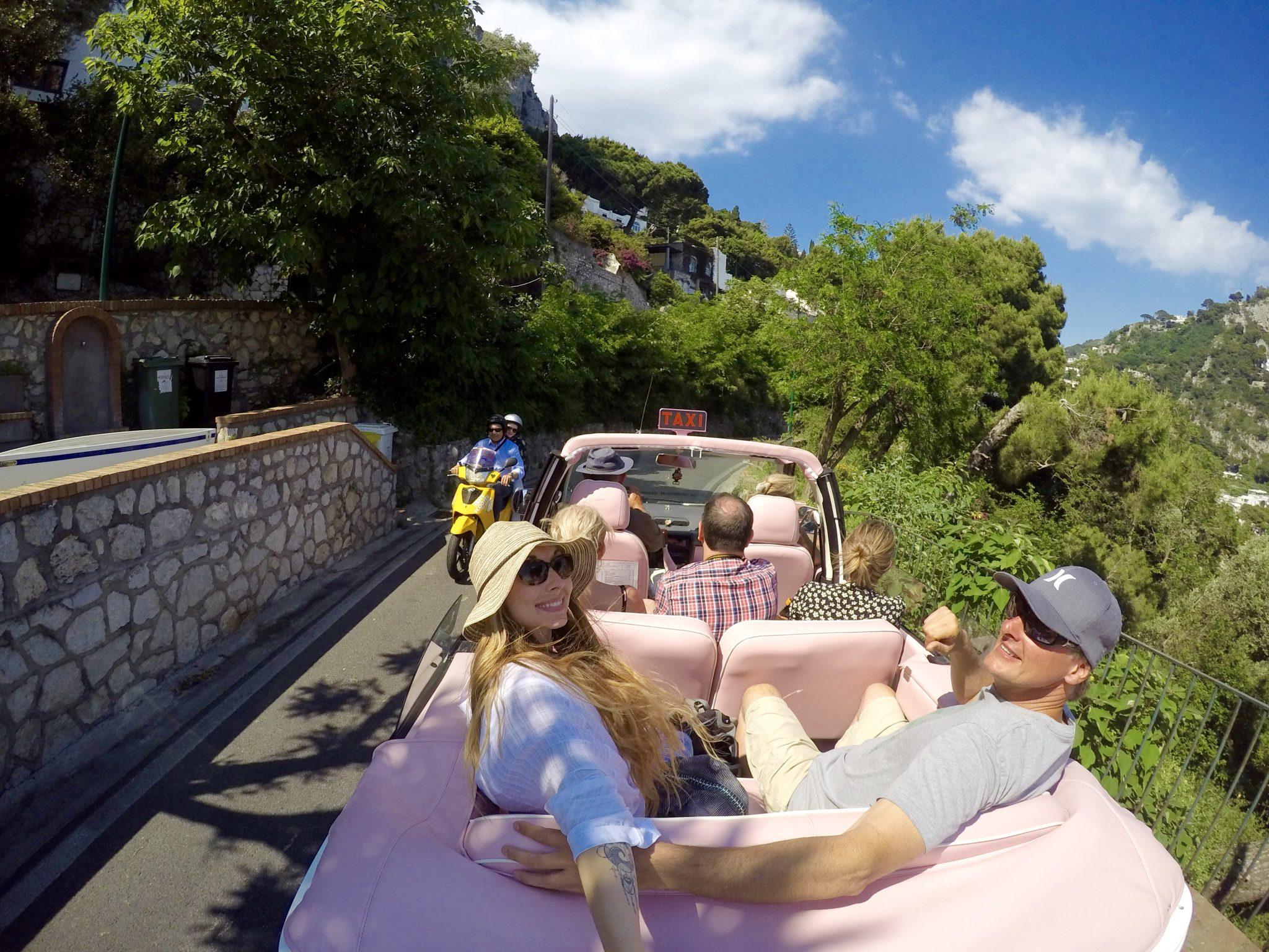 pink taxi, capri, italy