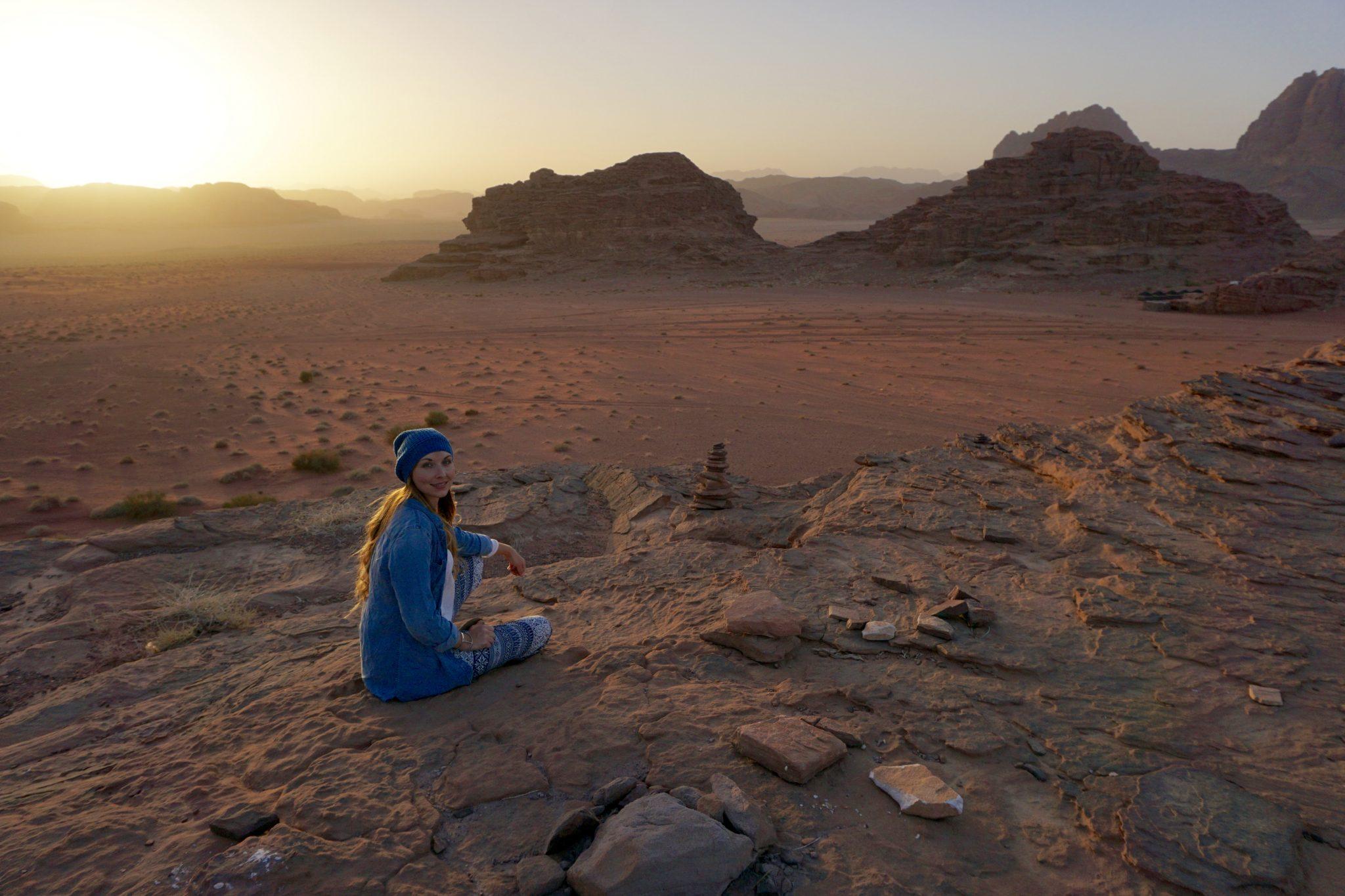 sunset wadi rum, jordan