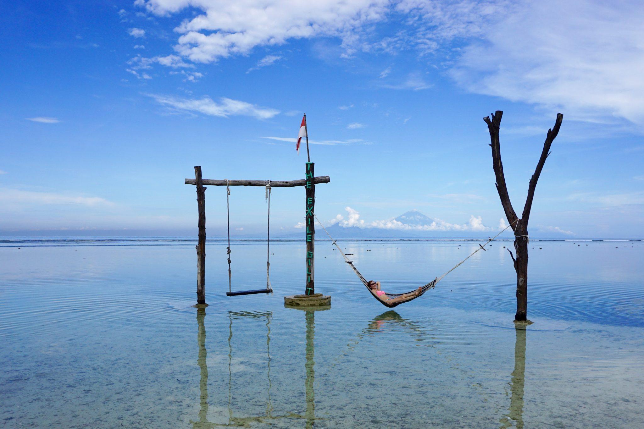 gili trawangan, indonesia, lombok, overwater hammock, beaches