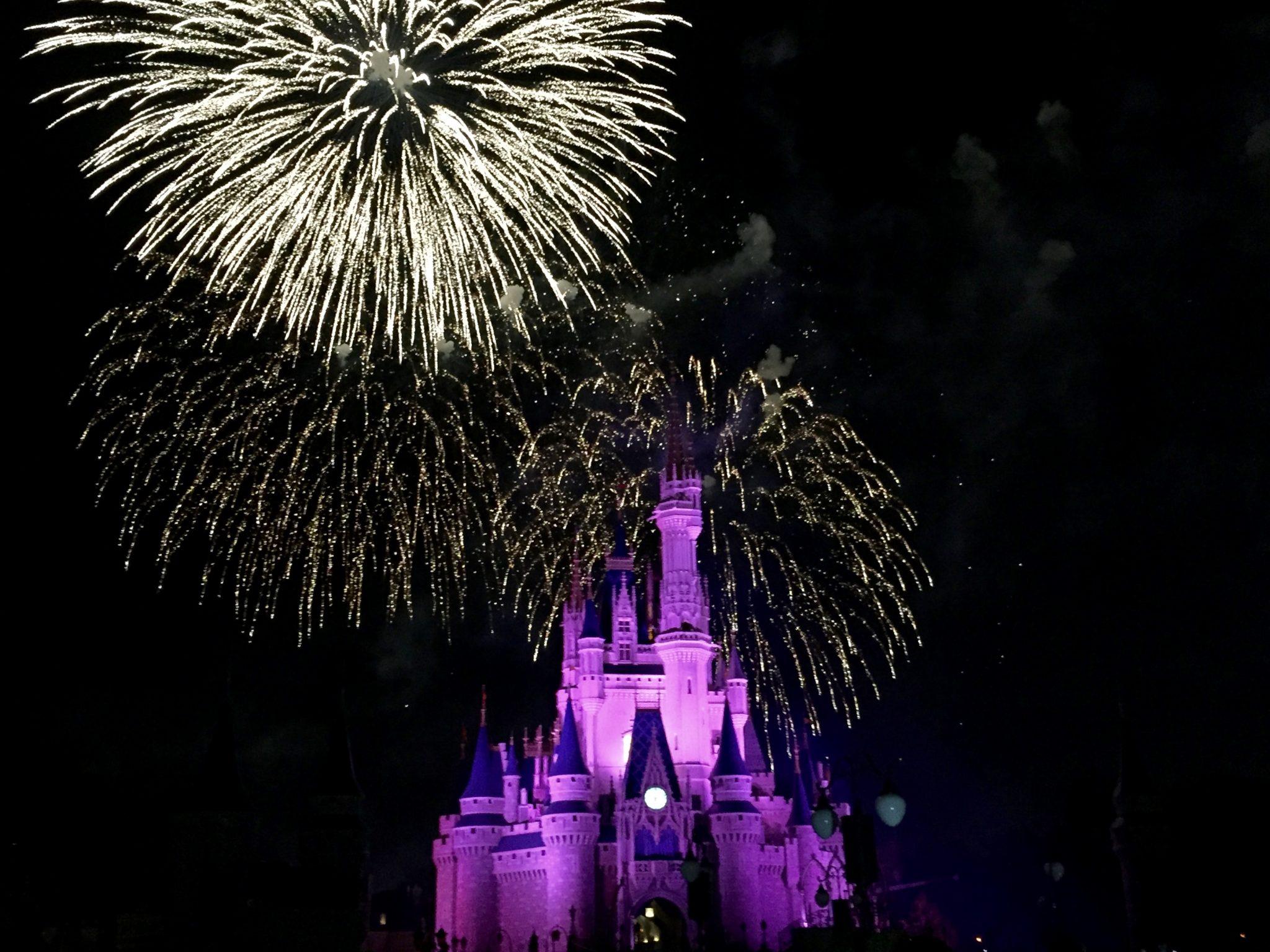 disneyworld, cinderella castle, fireworks