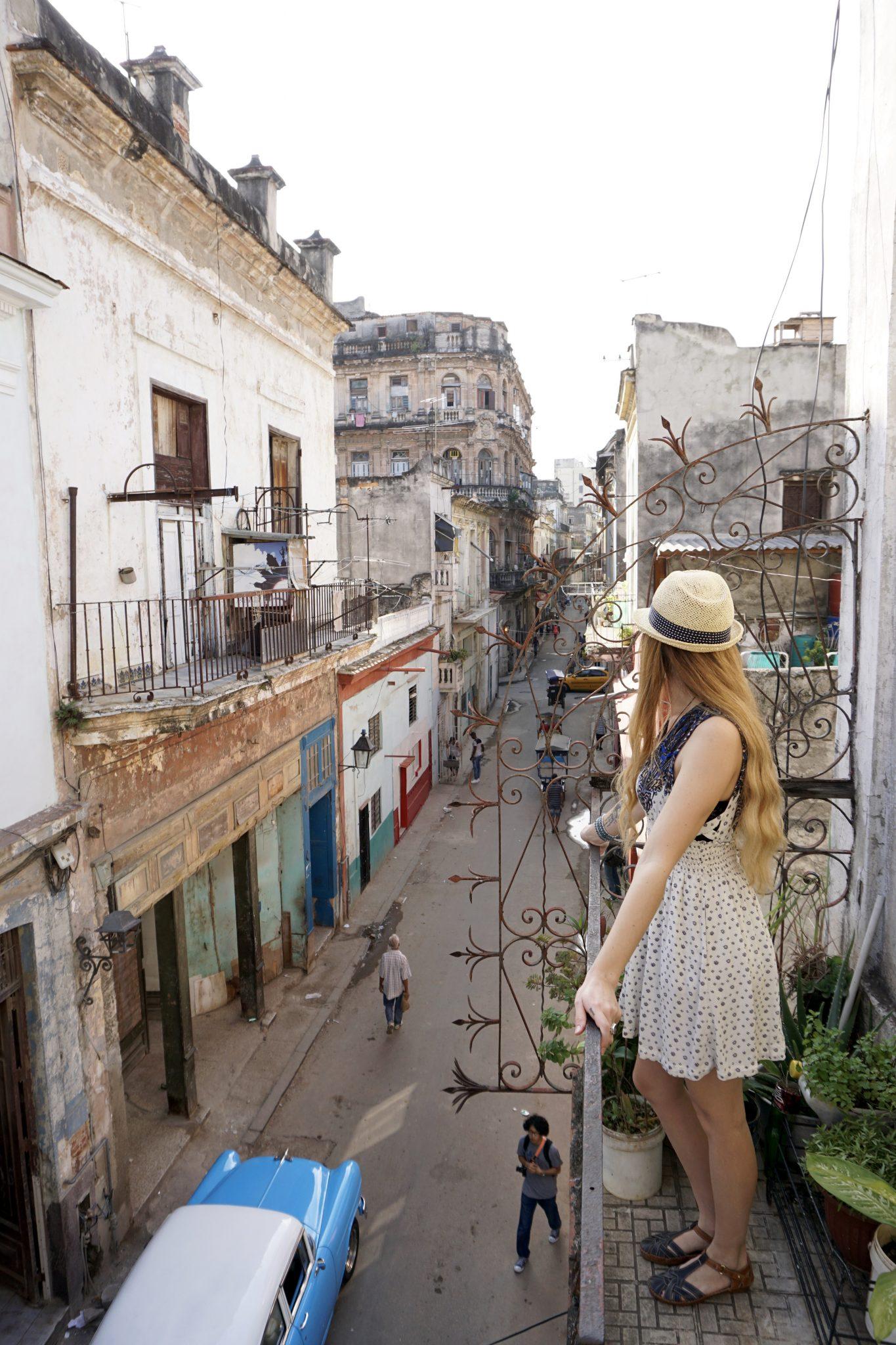 Havana, Cuba, airbnb, balcony, streets