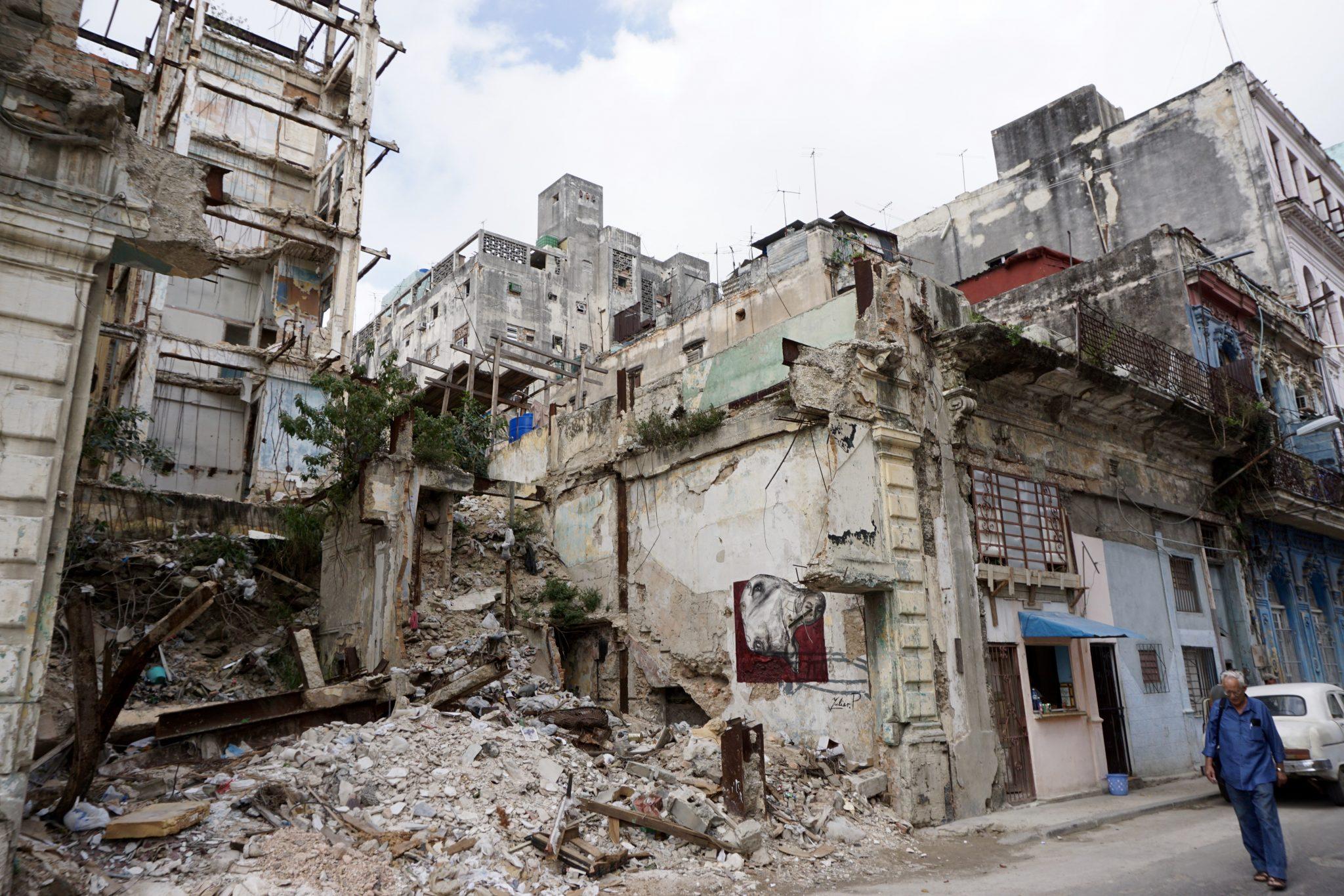 Havana, Cuba, collapsing building