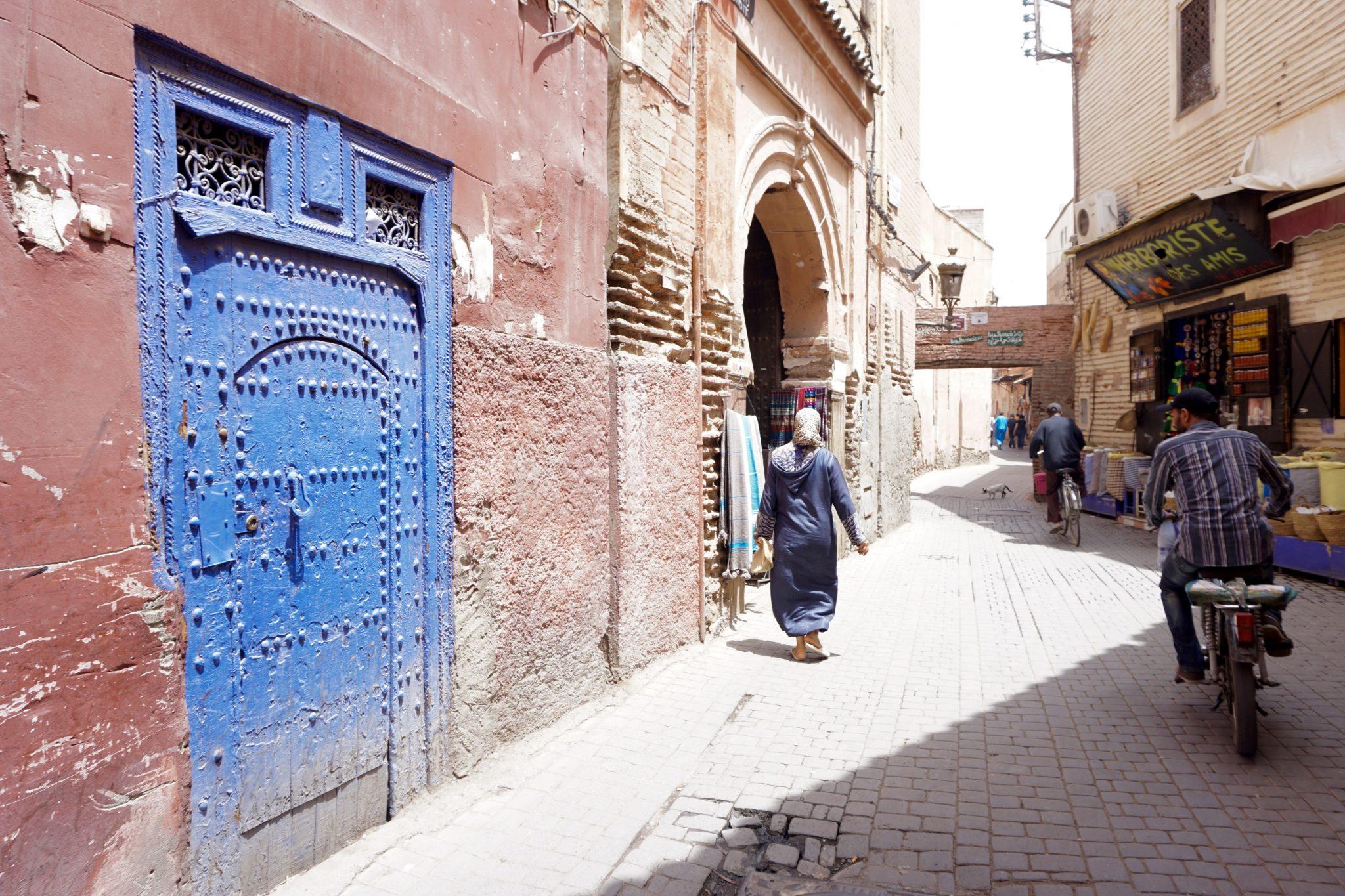 marrakech street, doors, morocco