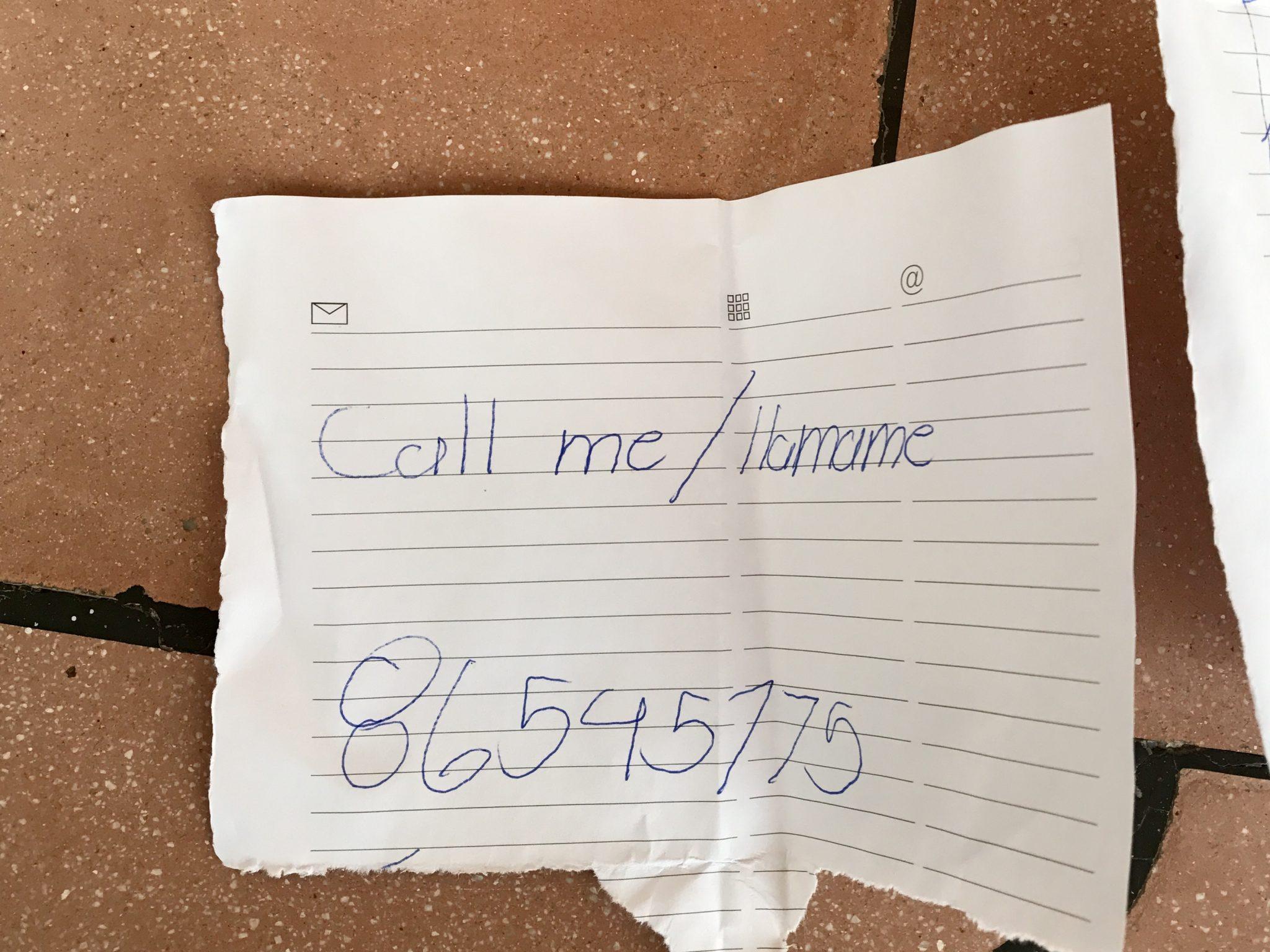 creepy note, hotel boyeros, liberia, costa rica