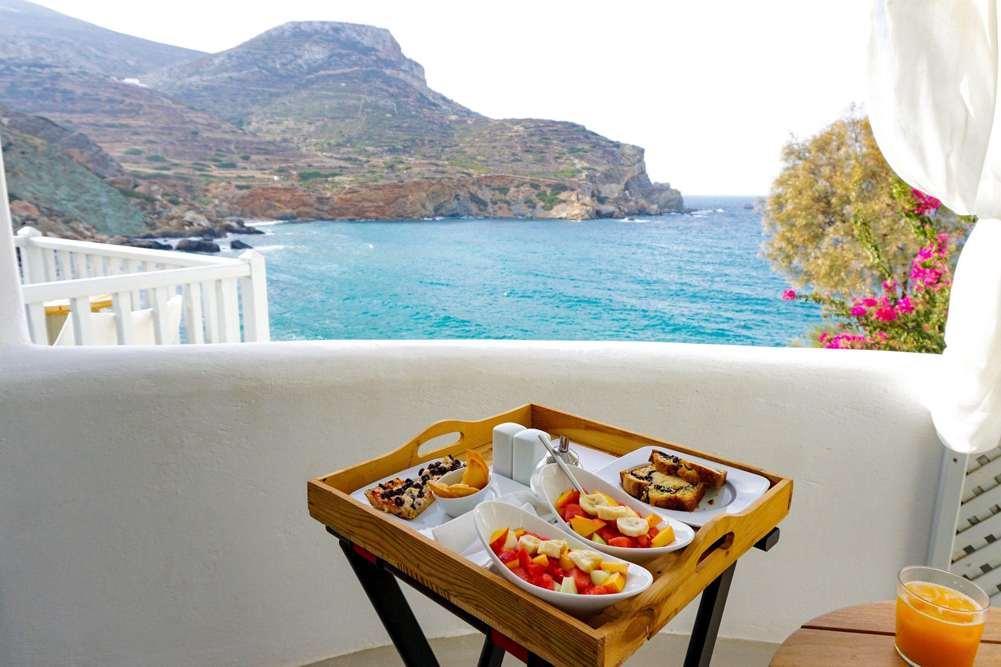 balcony breakfast, Blue Sand Hotel, Folegandros, Greece