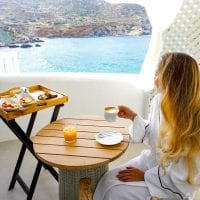 Breakfast, Blue Sand hotel, Folegandros, Greece