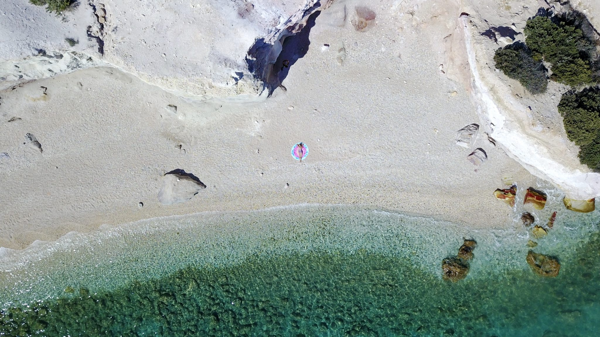 drone, kastanas beach, milos, greece