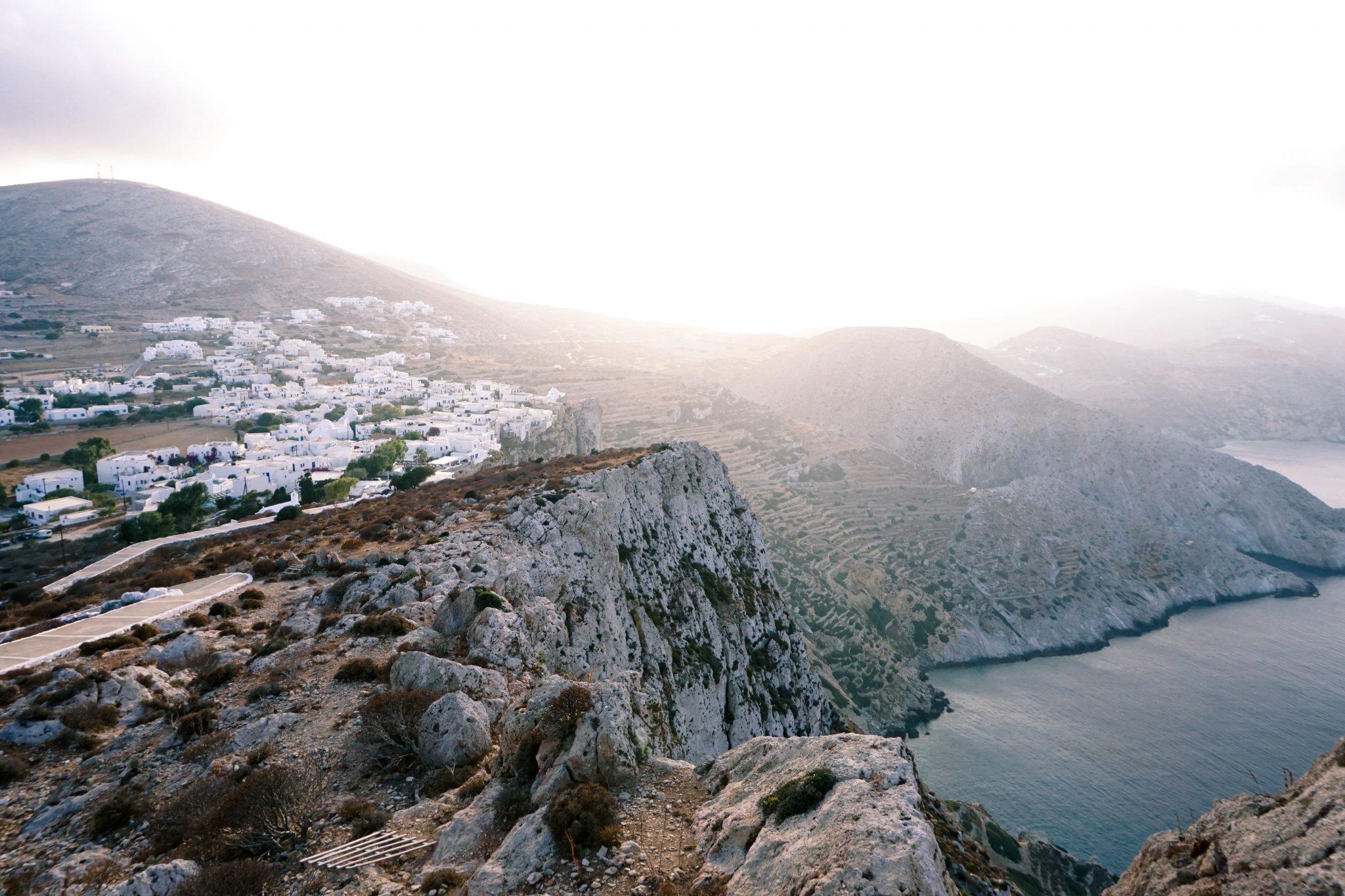 sunset, Chora, Folegandros, Greece