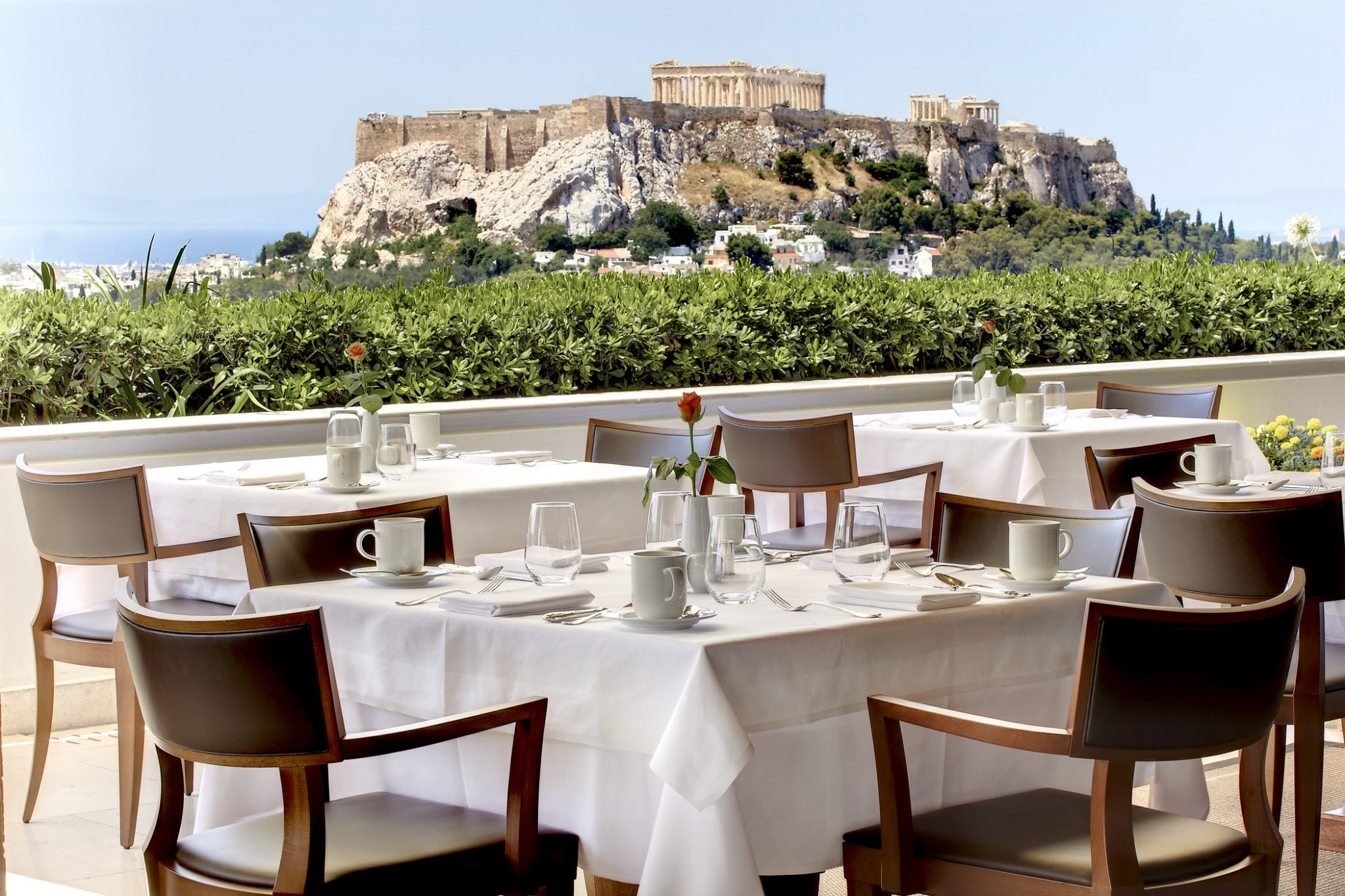 View of Acropolis from Hotel grande Bretagne rooftop restaurant