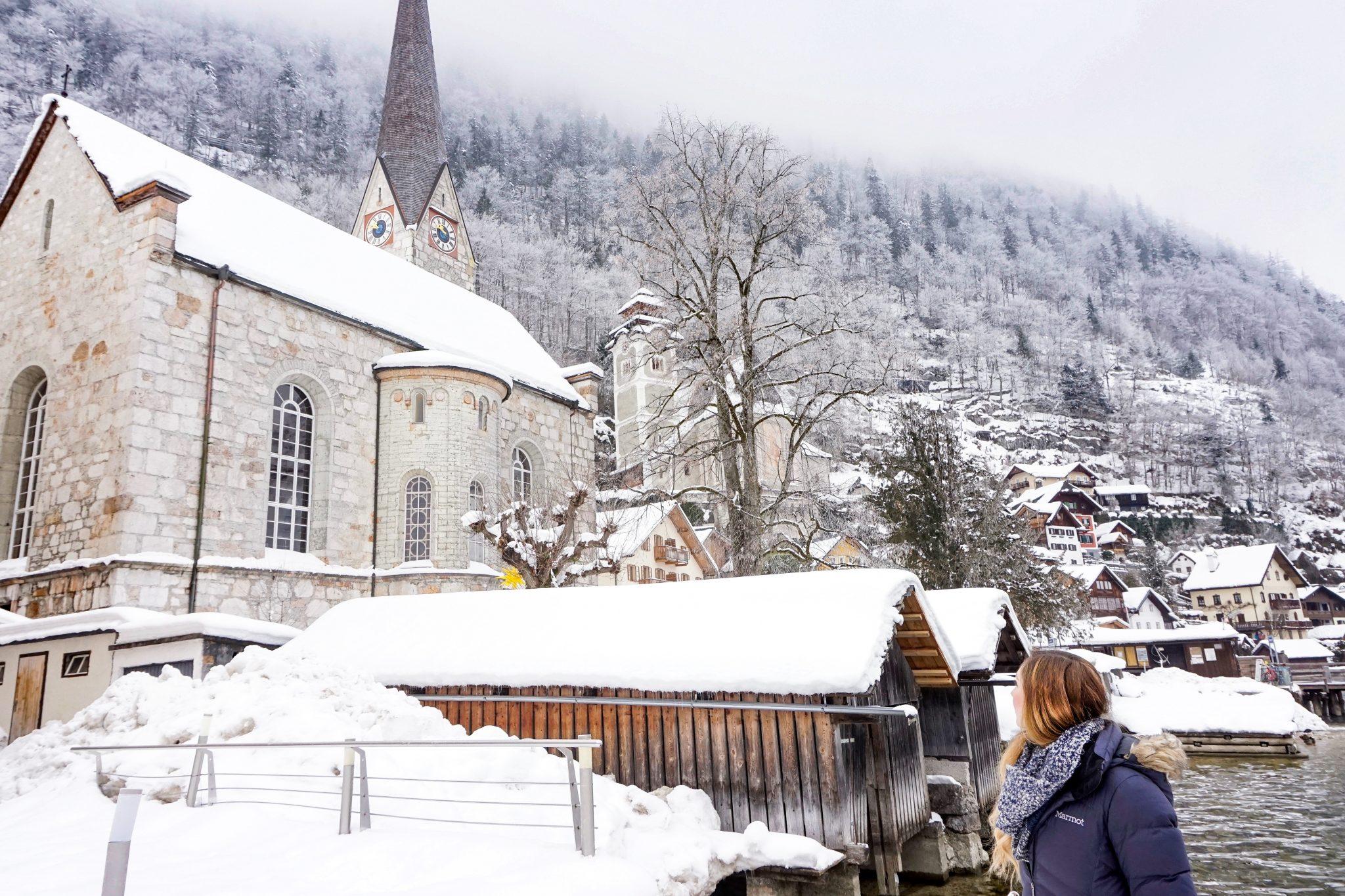 Seehotel Gruner Baum, winter in Hallstatt, Austria