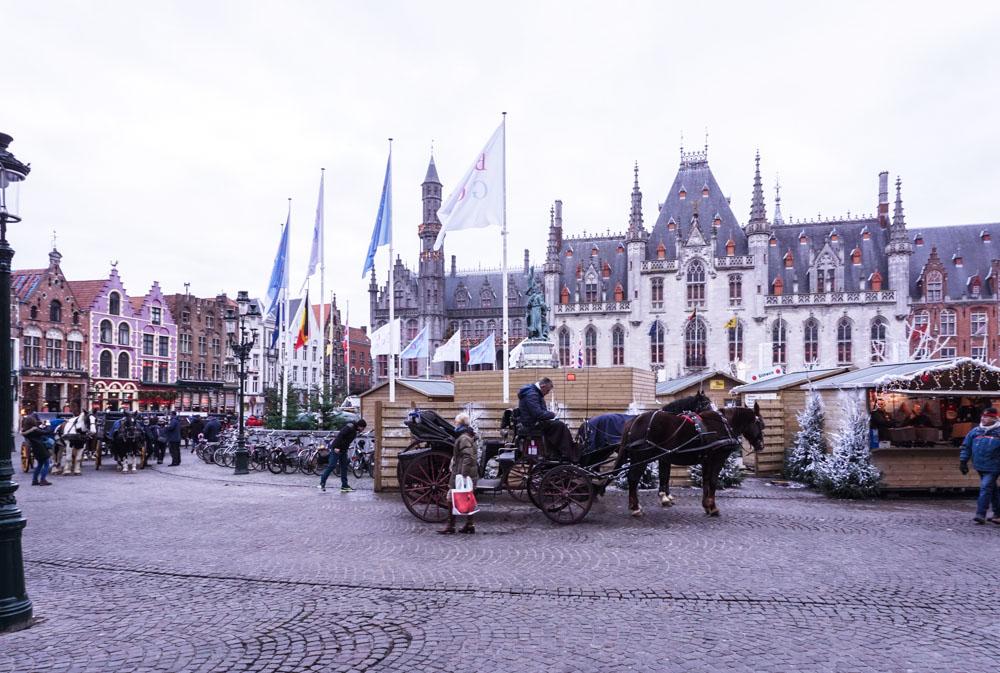 city center market square, Bruges Belgium