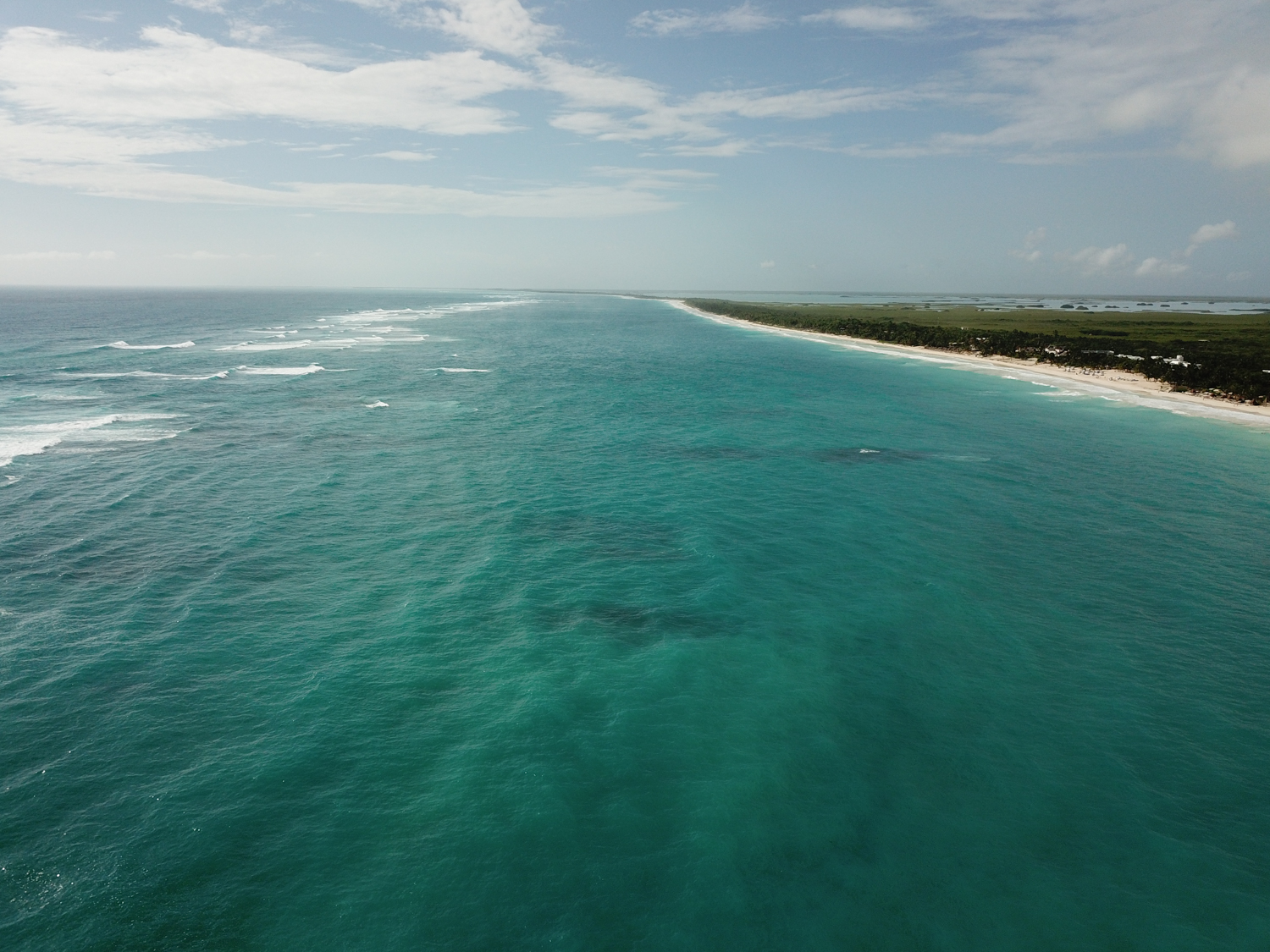 Tulum beach drone shot