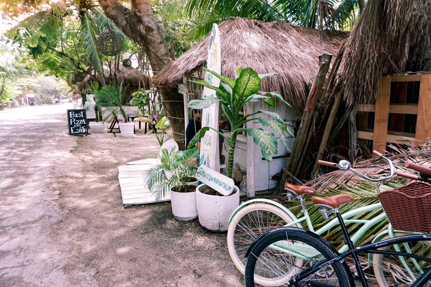 getting to Matcha mama by bike in tulum