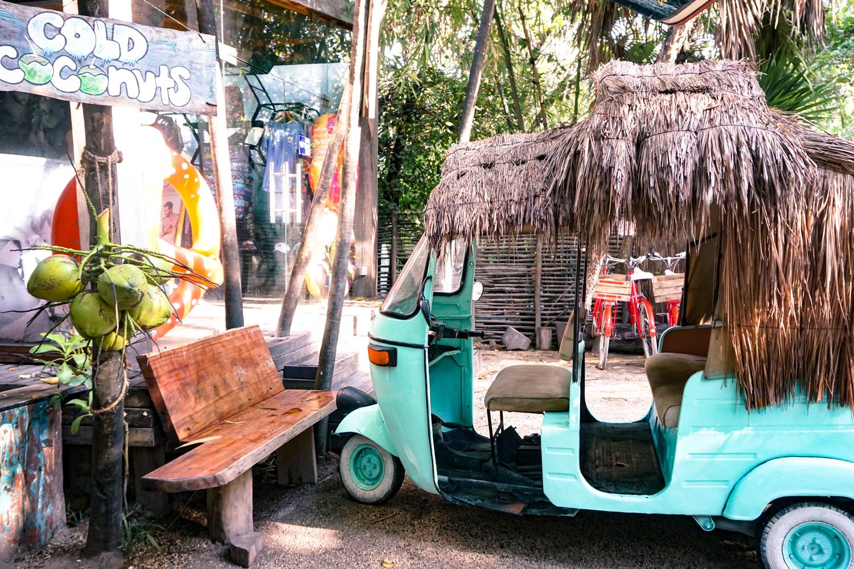 turquoise tuk tuk in Tulum
