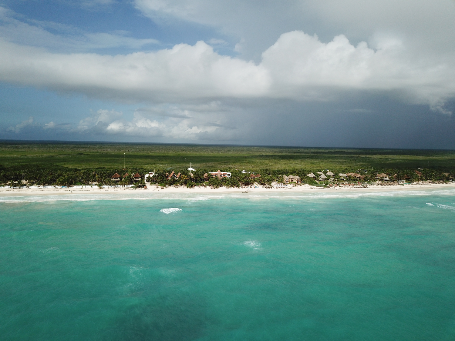 drone shot of tulum beach