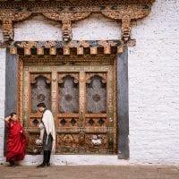 Monk at dzong bhutan