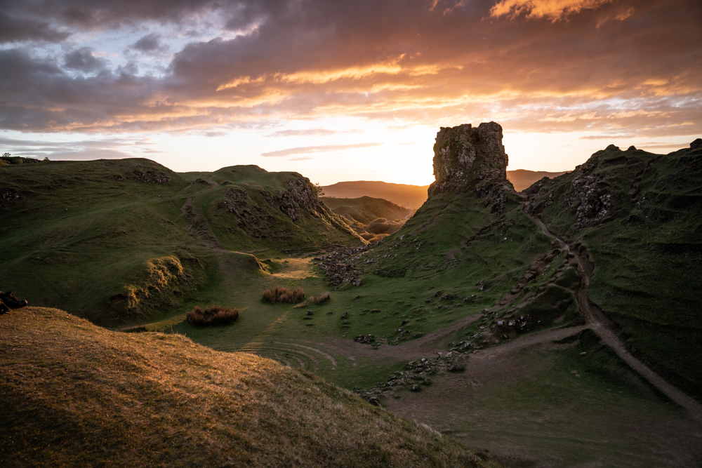 Fairy Glen Isle of Skye at sunset