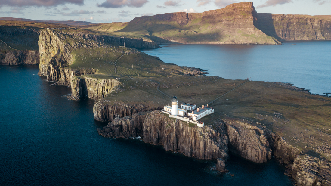 Neist Point lighthouse Isle of Skye drone shot