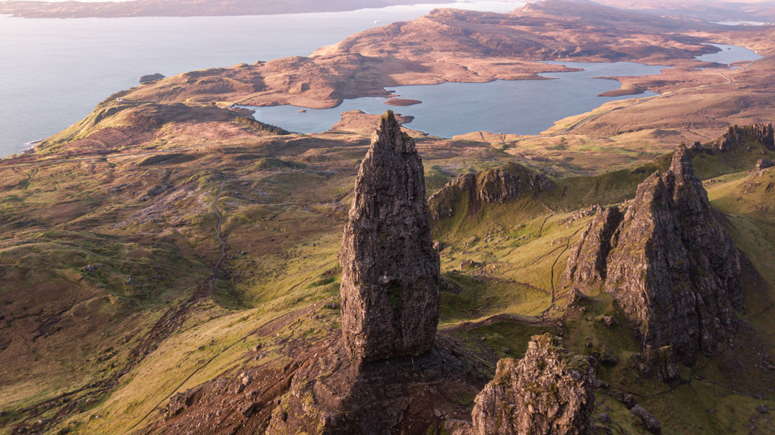 Old Man of Storr Drone view Isle of Skye