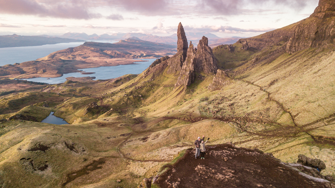drone view of Old Man of Storr Isle of Skye