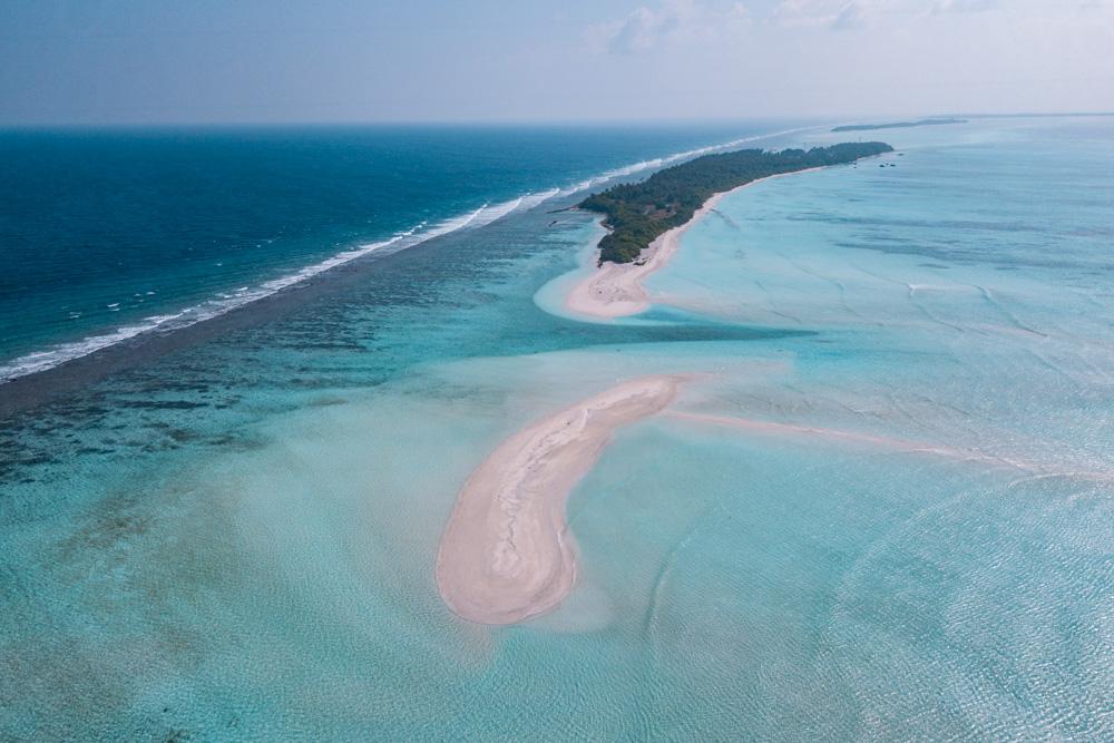 Aerial view of Fulhadhoo best local Maldive island