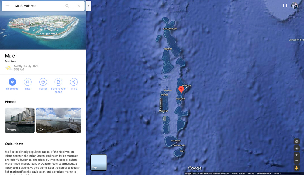 Maldives islands on Google satellite map