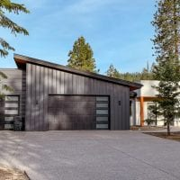modern home grey metal siding stucco cedar